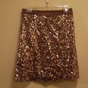 Ashley Stewart Brown Sequin & Satin Skirt